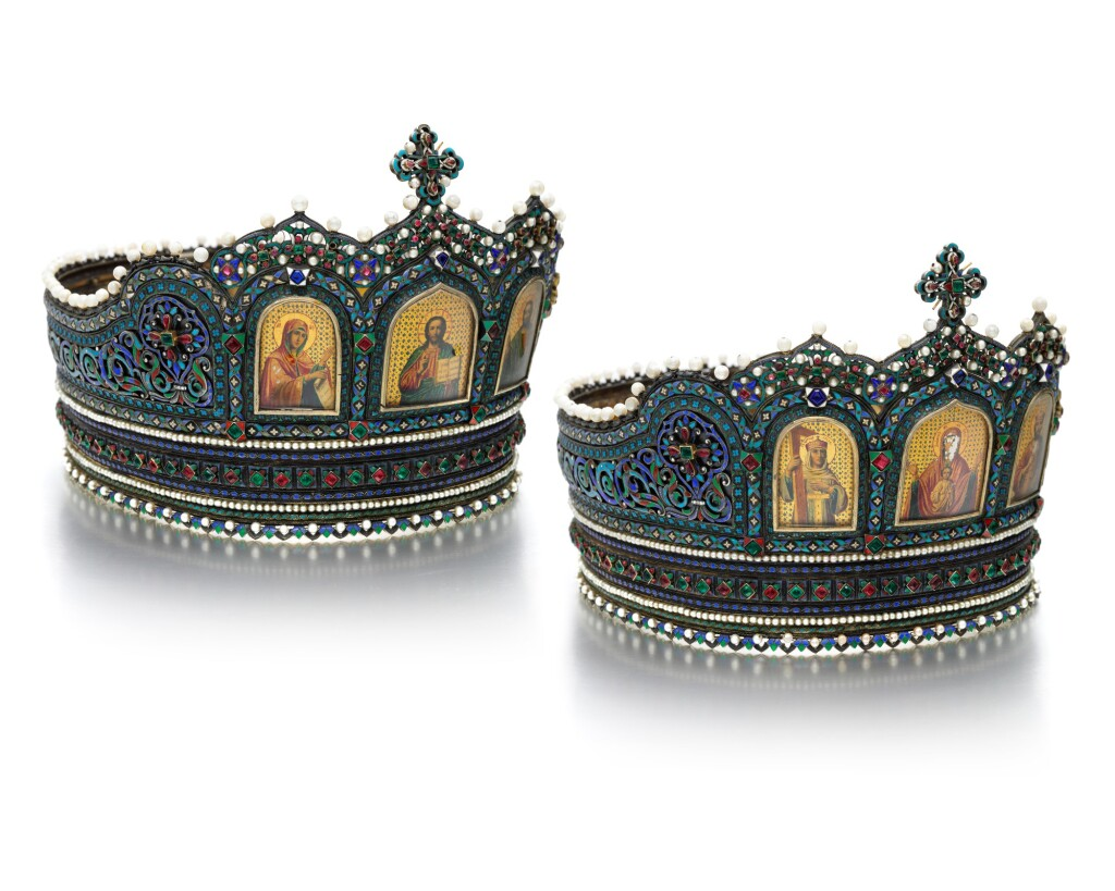 A VERY RARE PAIR OF RUSSIAN JEWELLED SILVER AND ENAMEL WEDDING CROWNS, IVAN DMITROVICH CHICHELEV, MOSCOW, 1881