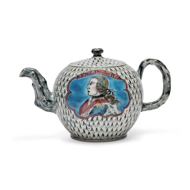 A STAFFORDSHIRE ENAMELLED SALT-GLAZED STONEWARE 'KING OF PRUSSIA' TEAPOT AND COVER CIRCA 1757