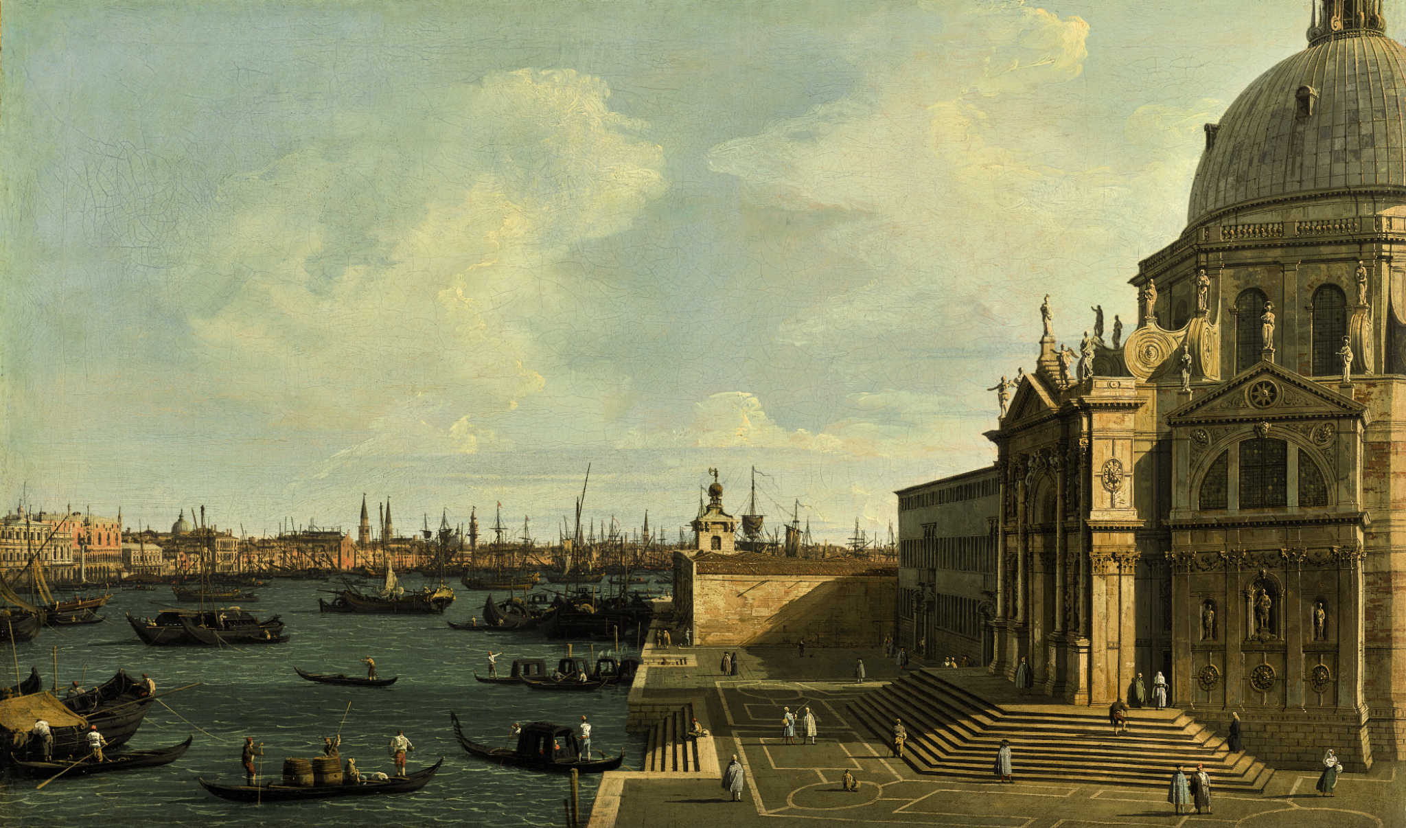 View full screen - View 1 of Lot 64. GIOVANNI ANTONIO CANAL, CALLED CANALETTO | VENICE, A VIEW OF THE GRAND CANAL LOOKING EAST WITH SANTA MARIA DELLA SALUTE.