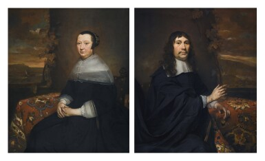 PIETER VAN ANRAEDT | Portrait of a gentleman; and Portrait of a lady, both three-quarter-length, seated by draped tables, with coastal landscapes beyond