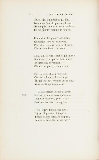 View 4. Thumbnail of Lot 67. Les fleurs du mal. 1857. Envoi à J. Leman. Un des 15 ex. connus relié à l'ép. avec envoi. Corrections aut..