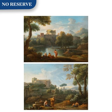 View 1. Thumbnail of Lot 161. A classical landscape with the Tomb of Cecilia Metella and figures conversing;  A classical landscape with a capriccio of the Vatican Belvedere and figures conversing in the foreground.