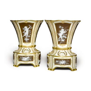 A PAIR OF MINTONS PÂTE-SUR-PÂTE IVORY-GROUND BULB VASES AND STANDS 1889