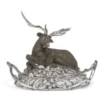 AN ITALIAN SILVER MEAT DISH WITH DEER-FORM COVER, FLORENCE, 20TH CENTURY