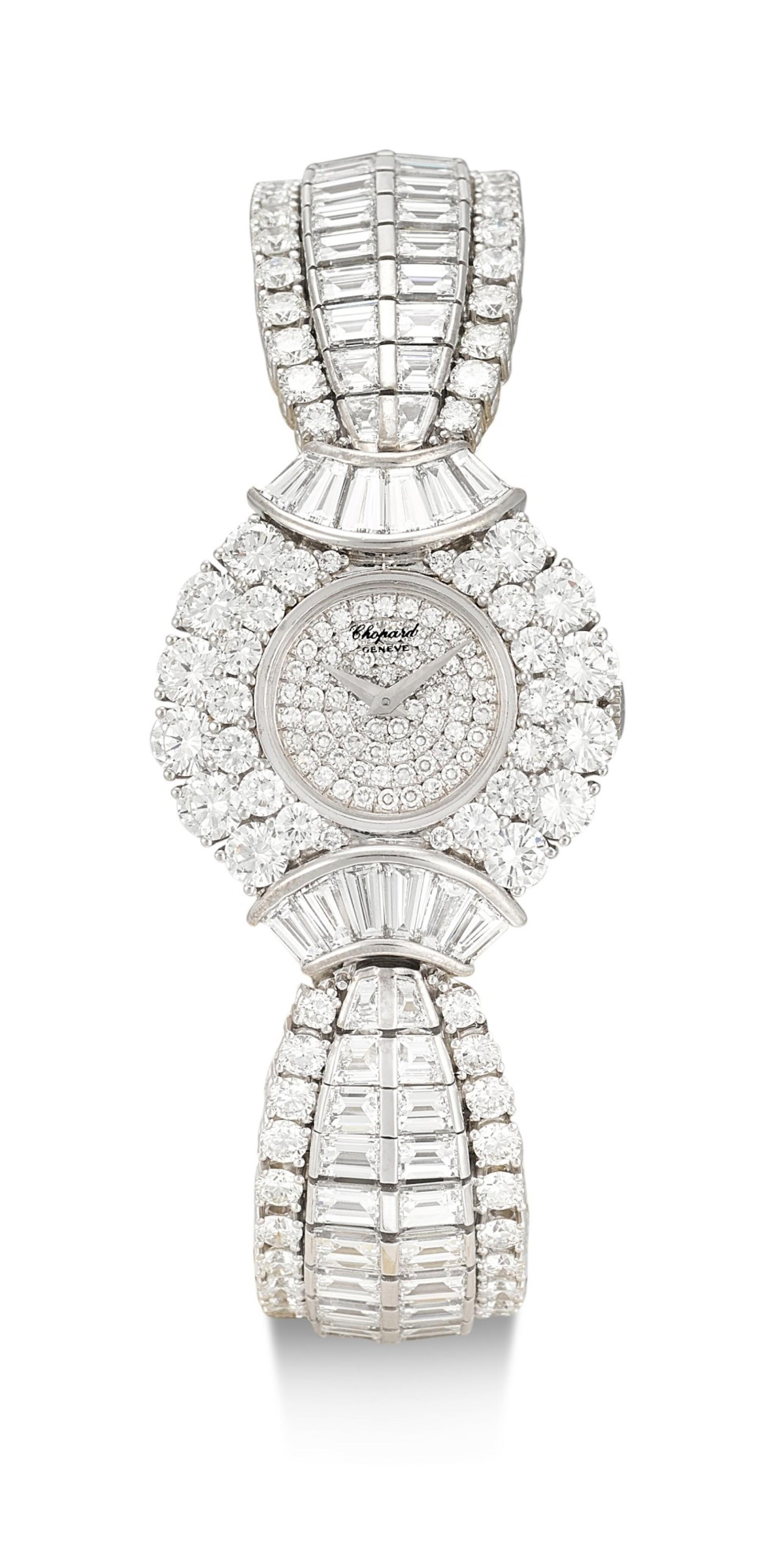 View full screen - View 1 of Lot 1020. RARE AND POSSIBLY UNIQUE MANUALLY-WOUND DIAMOND WRISTWATCH, CHOPARD 罕有並可能獨一無二手動上鏈鑽石腕錶, 蕭邦 (Chopard) .