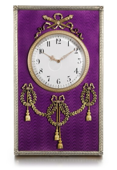 View 1. Thumbnail of Lot 30. A Fabergé varicolour gold-mounted, silver-gilt and guilloché enamel desk clock, workmaster Henrik Wigström, St Petersburg, 1904.