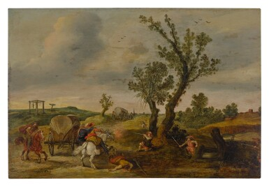 Soldiers ambushing a wagon