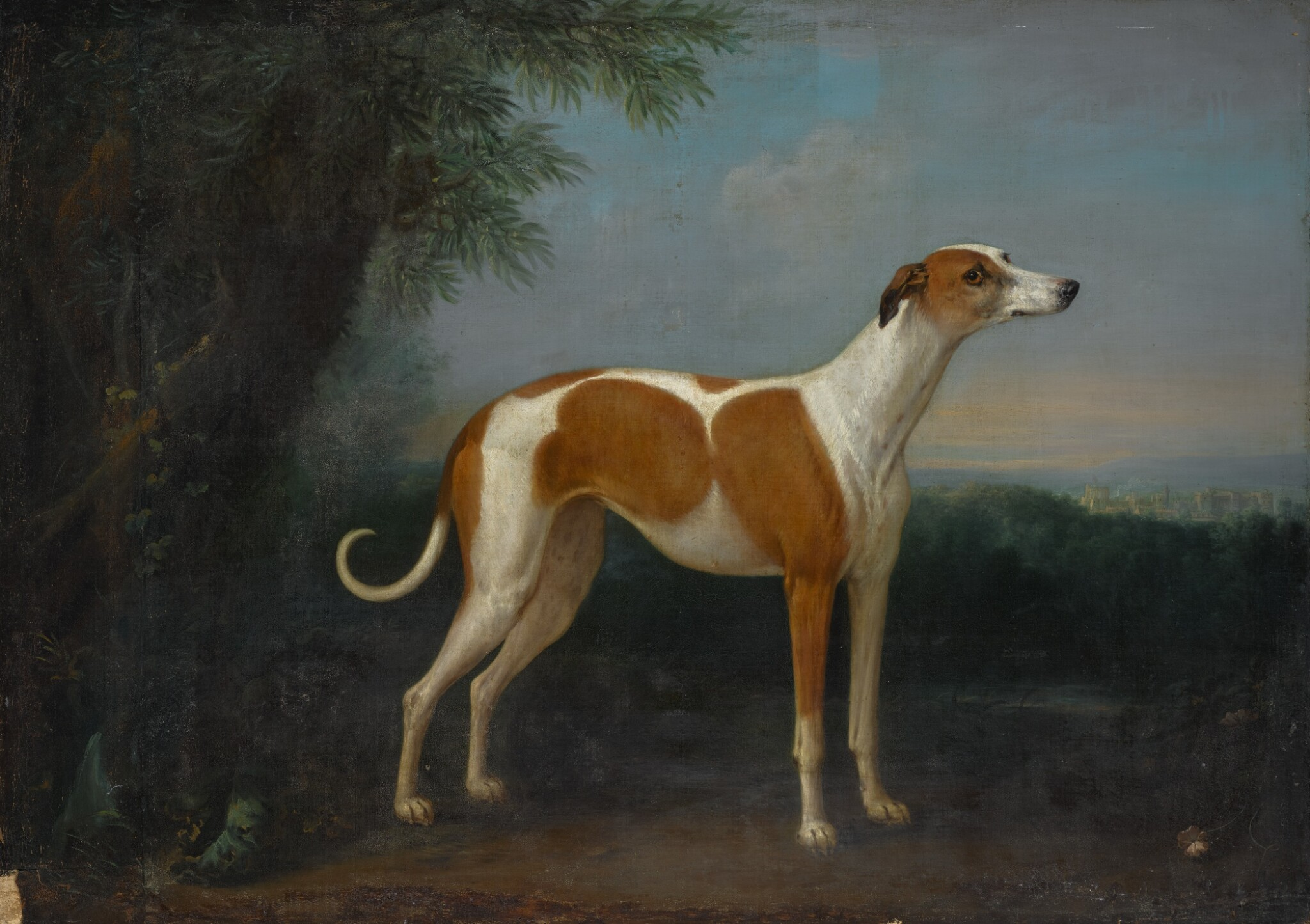 View full screen - View 1 of Lot 163. JOHN WOOTTON | A greyhound in a landscape, with a view of Windsor Castle beyond.