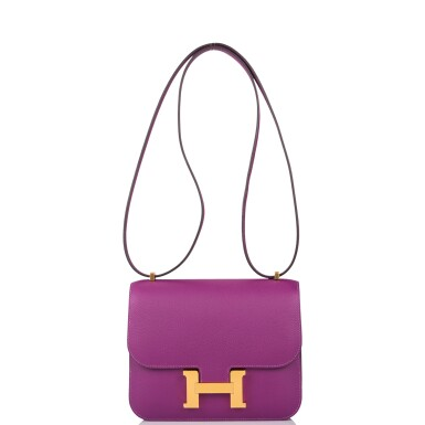 View 7. Thumbnail of Lot 21. Hermès Anemone Constance 18cm of Evercolor Leather with Gold Hardware.