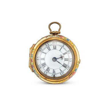View 2. Thumbnail of Lot 4015. J. NEWHAM | A GILT AND PORCELAIN PAIR CASE OPENFACE KEYWOUND VERGE WATCH WITH ENAMEL DIAL, CIRCA 1750.