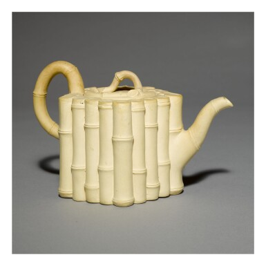 A WEDGWOOD CANEWARE BAMBOO-MOLDED TEAPOT AND COVER CIRCA 1780