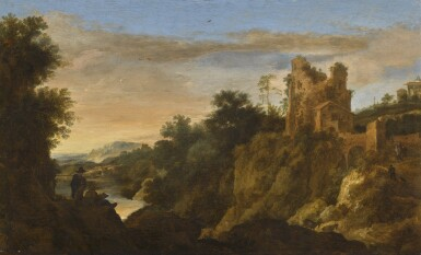 View 1. Thumbnail of Lot 45. PIETER DE MOLIJN | Italianate mountain landscape at sunset with a draughtsman, a ruined building beyond.