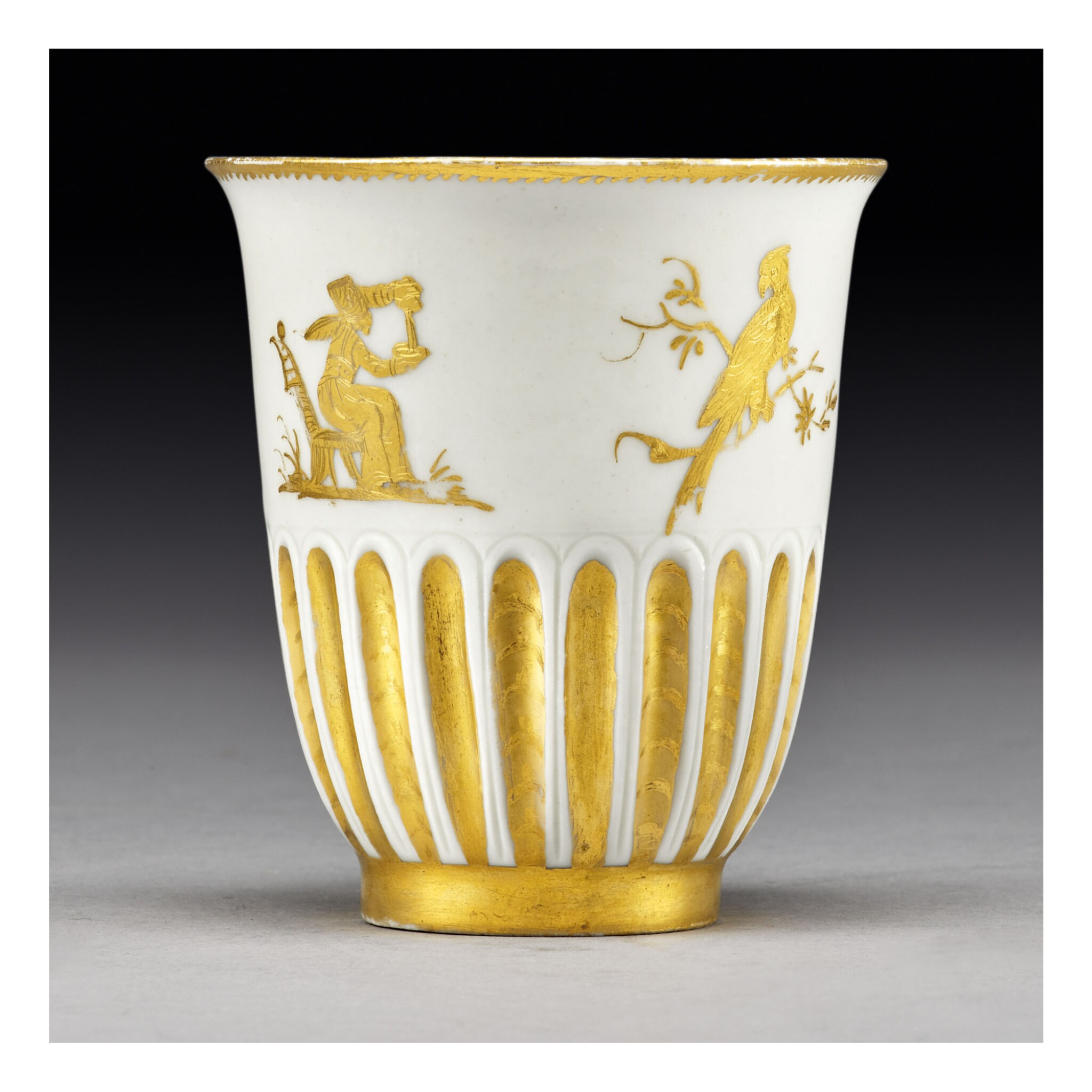 View full screen - View 1 of Lot 447. AN EARLY MEISSEN HAUSMALER FLUTED BEAKER CIRCA 1715-25.