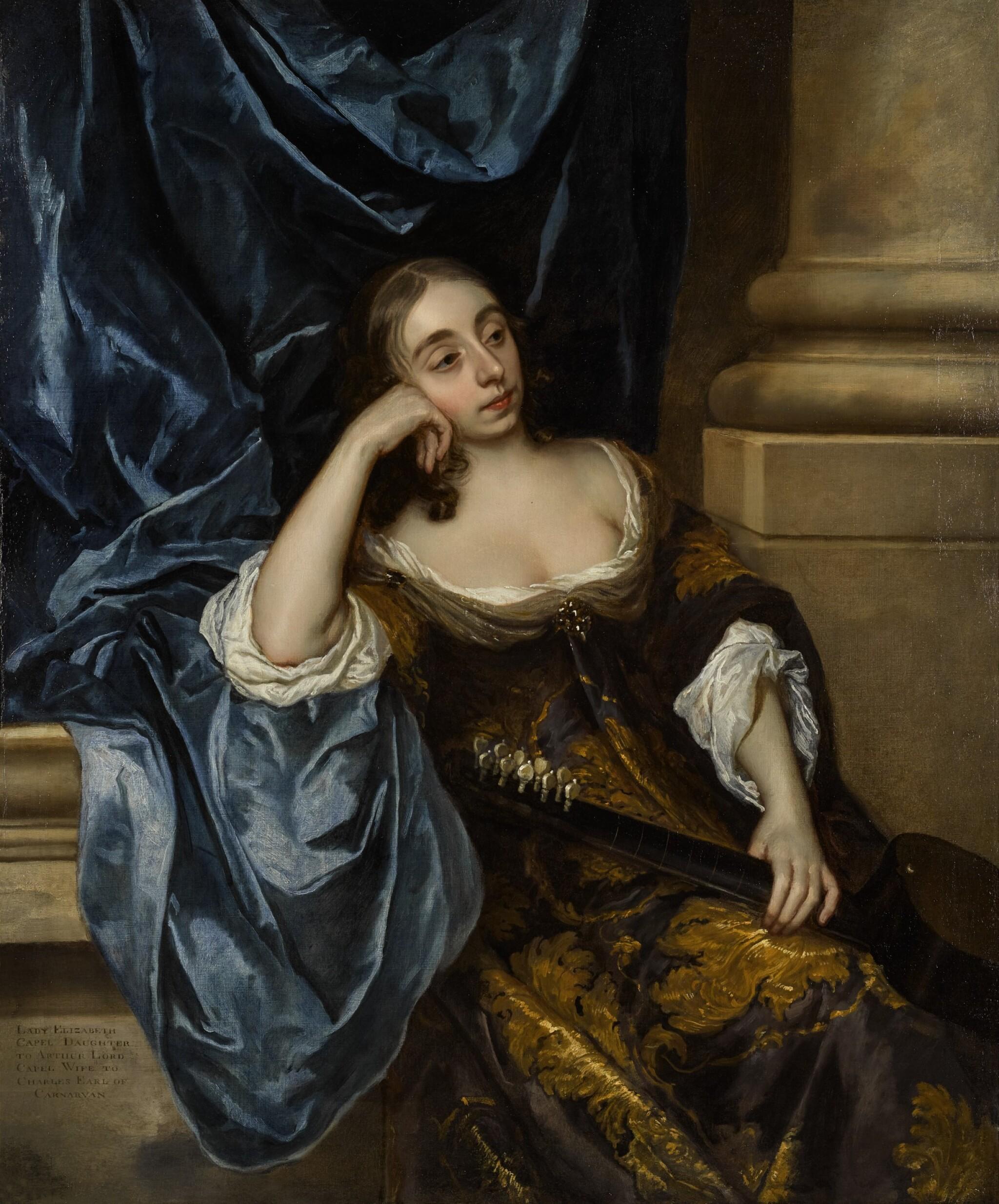 View 1 of Lot 27. Portrait of Elizabeth Capel, Countess of Carnarvon (1633–1678), with a guitar |《伊莉莎白・卡佩,卡那封伯爵夫人(1633-1678年)手持吉他的肖像》.