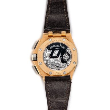 View 3. Thumbnail of Lot 2240. Audemars Piguet | Royal Oak Offshore, Reference 26288OF.OO.D002CR.01, A pink gold and forged carbon semi-skeletonised tourbillon chronograph wristwatch, Circa 2010 | 愛彼 | 皇家橡樹離岸型系列 型號26288OF.OO.D002CR.01  粉紅金及鍛碳半鏤空陀飛輪計時腕錶,約2010年製.