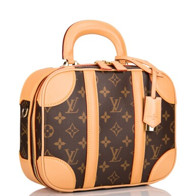 View 5. Thumbnail of Lot 85. LOUIS VUITTON   MONOGRAM VALISETTE MINI LUGGAGE PM IN COATED CANVAS AND VACHETTA LEATHER WITH GOLDEN BRASS HARDWARE.