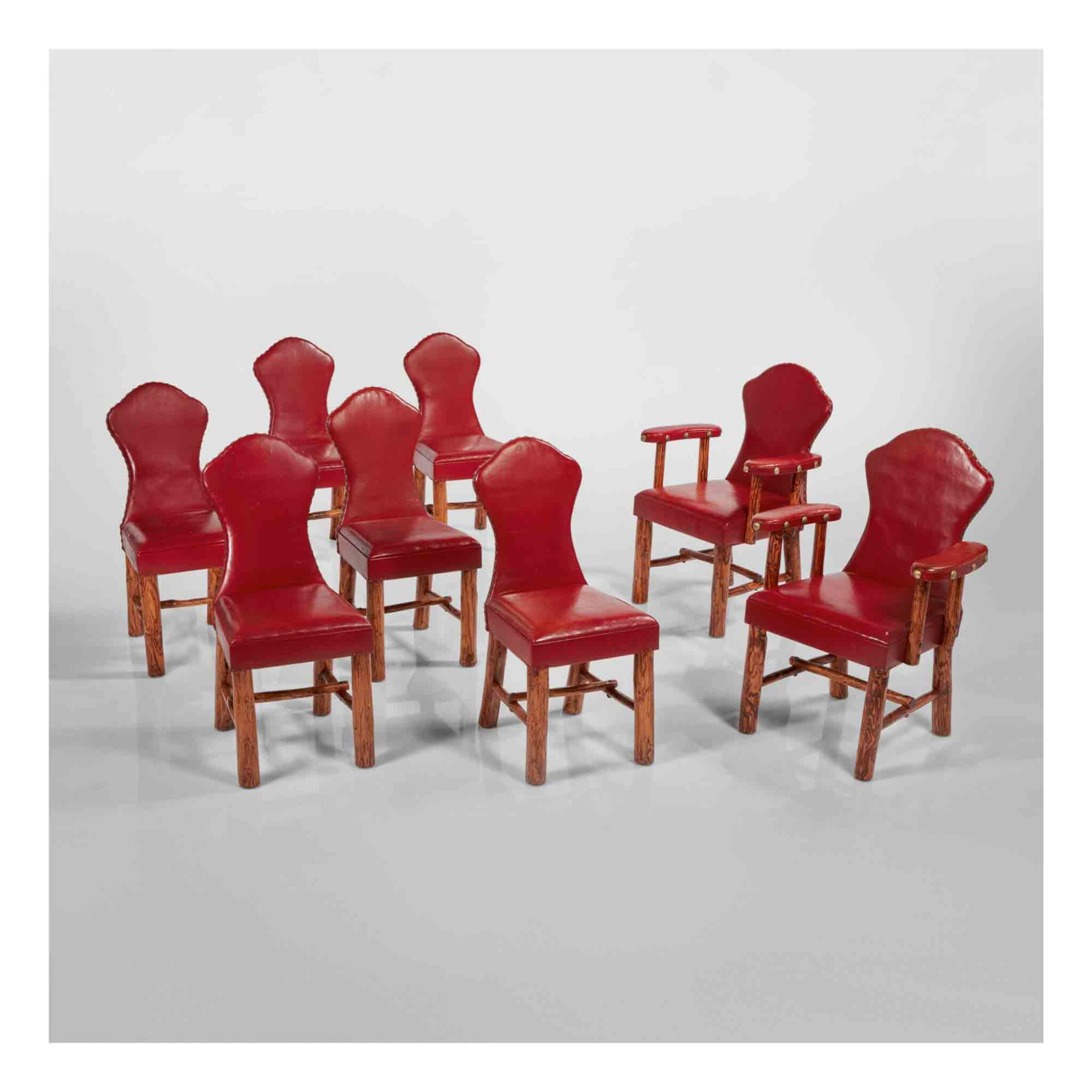 View 1 of Lot 311. Set of Eight Keyhole Chairs.