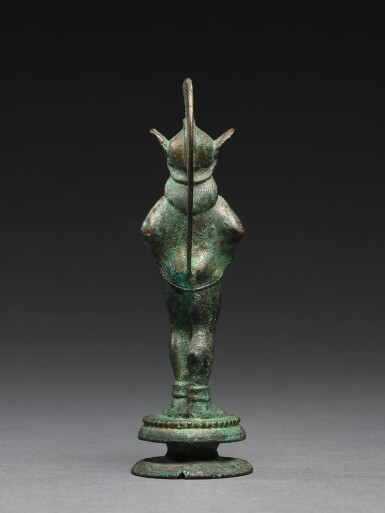 View 4. Thumbnail of Lot 8. AN ETRUSCAN BRONZE FIGURE OF A WARRIOR, CIRCA 500-475 B.C..