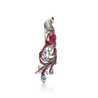 View 2. Thumbnail of Lot 8014. Rubellite, Sapphire and Diamond Brooch | 碧璽 配 藍寶石 及鑽石 胸針.
