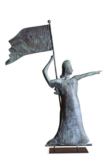 View 2. Thumbnail of Lot 25. VERY FINE AND RARE MOLDED FULL-BODIED SHEET COPPER AND ZINC GODDESS OF LIBERTY WEATHERVANE, NORTHEASTERN UNITED STATES, CIRCA 1915.