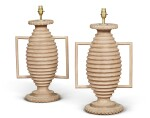 A PAIR OF PAINTED WOOD LAMPS, 20TH CENTURY