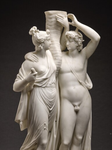 ATTRIBUTED TO CARLO ALBACINI (1735- CIRCA 1813) AND WORKSHOP, ITALIAN, ROME, CIRCA 1800   PAIR OF DIONYSIAC GROUPS WITH CORNUCOPIA SUPPORTS, PROBABLY FOR CANDELABRA