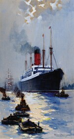 FRANK HENRY MASON | The Cunard Liner Carpathia Outward Bound from Liverpool in the Moonlight