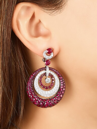 View 3. Thumbnail of Lot 1848. 'Bombé' Pair of Ruby and Diamond Pendent Earrings | 格拉夫 | 'Bombé' 紅寶石 配 鑽石 耳墜一對.