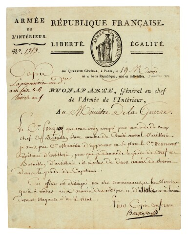 View 1. Thumbnail of Lot 84. NAPOLEON I | early signed letter, as Commander-in-Chief of the Army of the Interior, to the Minister of War, [1796].