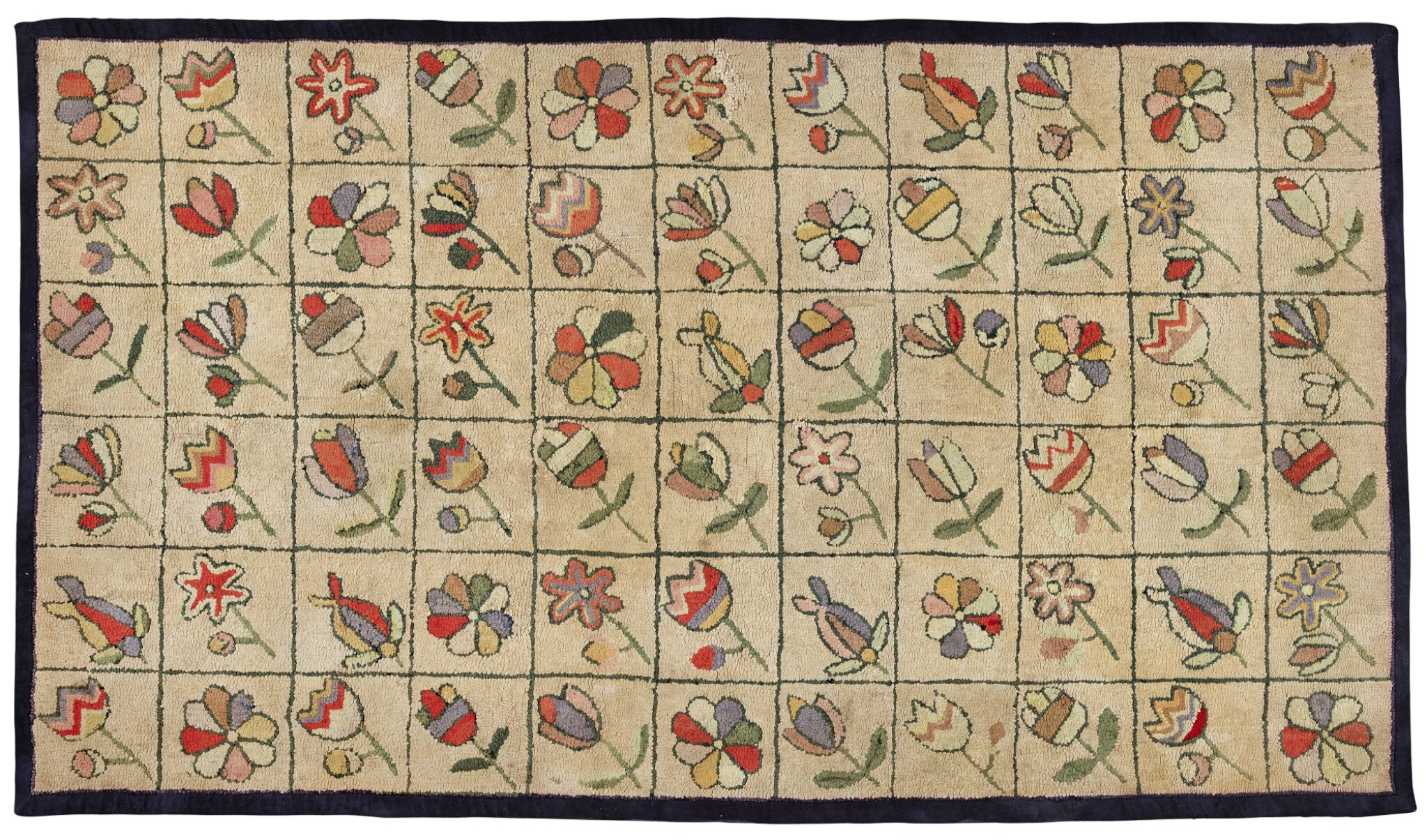 View full screen - View 1 of Lot 1521. CANADIAN POLYCHROME SCATTERED FLOWER DECORATED HOOKED RUG, FOUND IN NOVA SCOTIA, EARLY 20TH CENTURY.