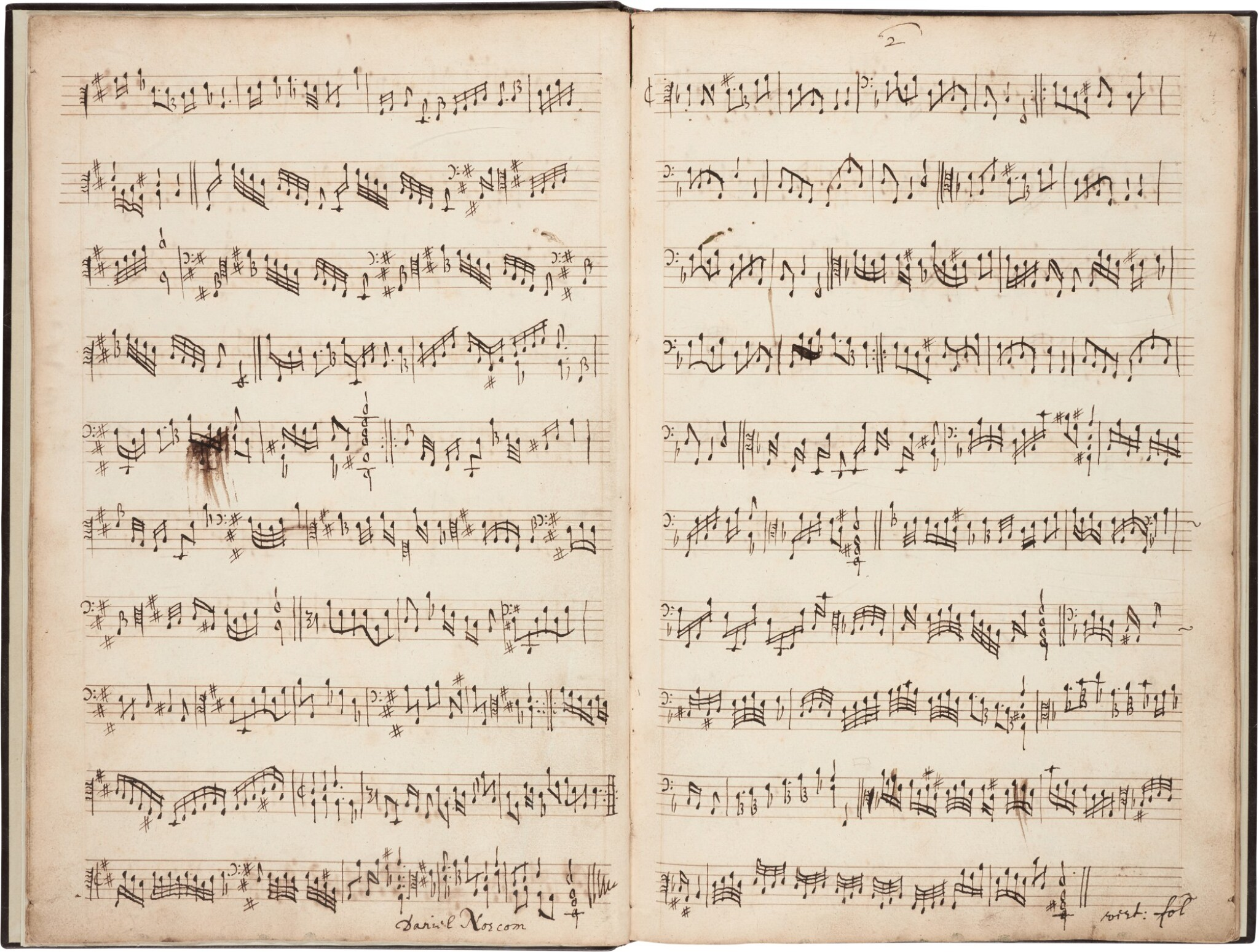 View full screen - View 1 of Lot 123. Viola da gamba. Important 17th-century manuscript of divisions for solo bass viol by Norcombe, Simpson and others.