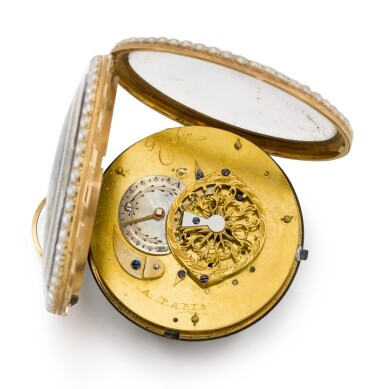 View 3. Thumbnail of Lot 303. ROBIN A PARIS   GOLD, ENAMEL AND PEARL-SET WATCH WITH CHATELAINE, CIRCA 1790.