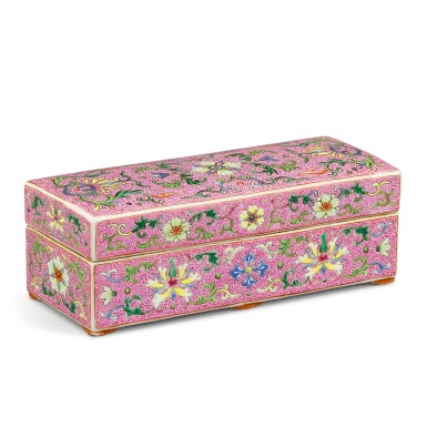 View 1. Thumbnail of Lot 103. A FINELY ENAMELLED PINK-GROUND YANGCAI BOX AND COVER QING DYNASTY, QIANLONG PERIOD | 清乾隆 宮粉地洋彩錦上添花番蓮紋長方蓋盒.