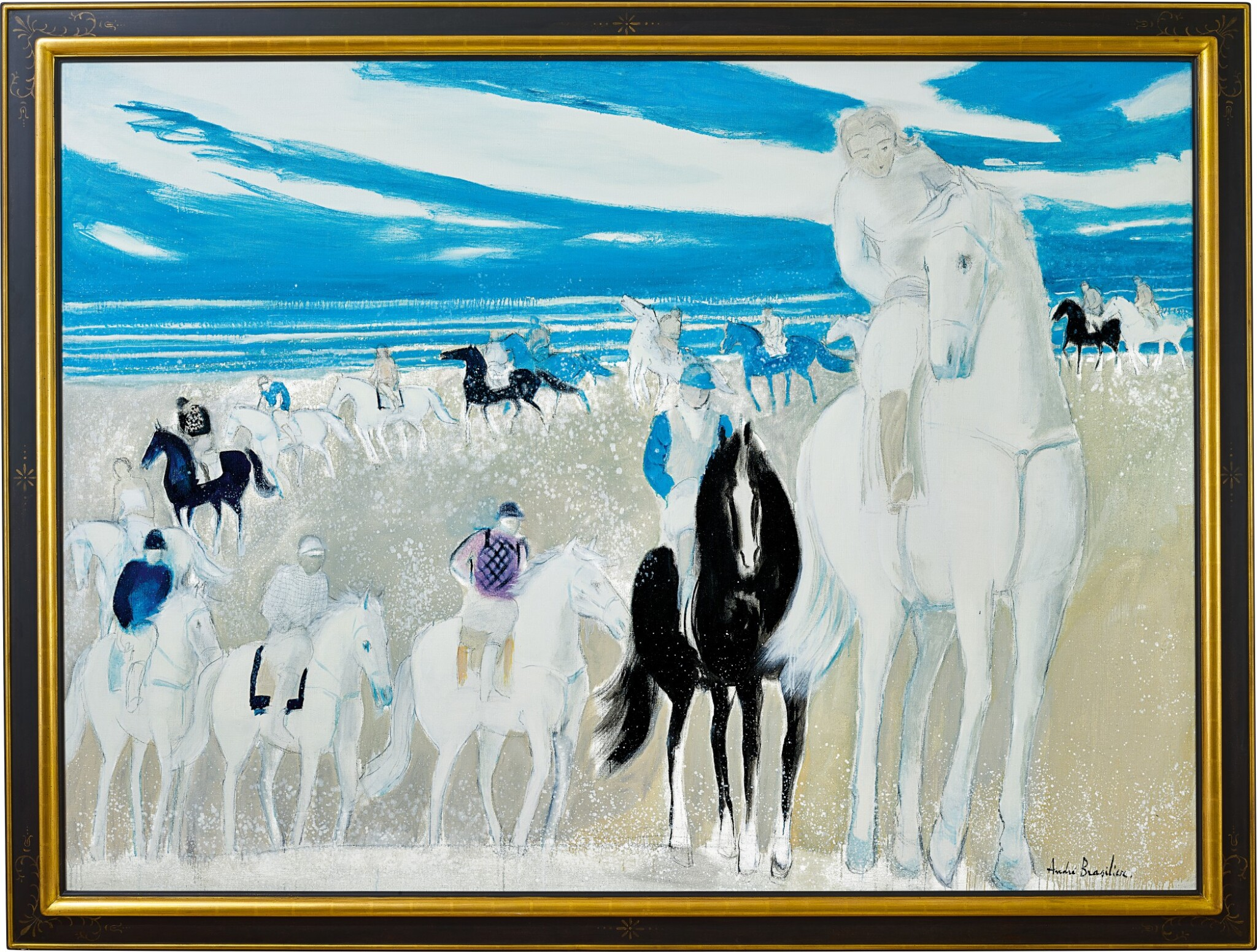View full screen - View 1 of Lot 1050. André Brasilier 安德烈・布拉吉利   Grande cavalcade camarguaise 大卡瑪爾格騎兵隊.