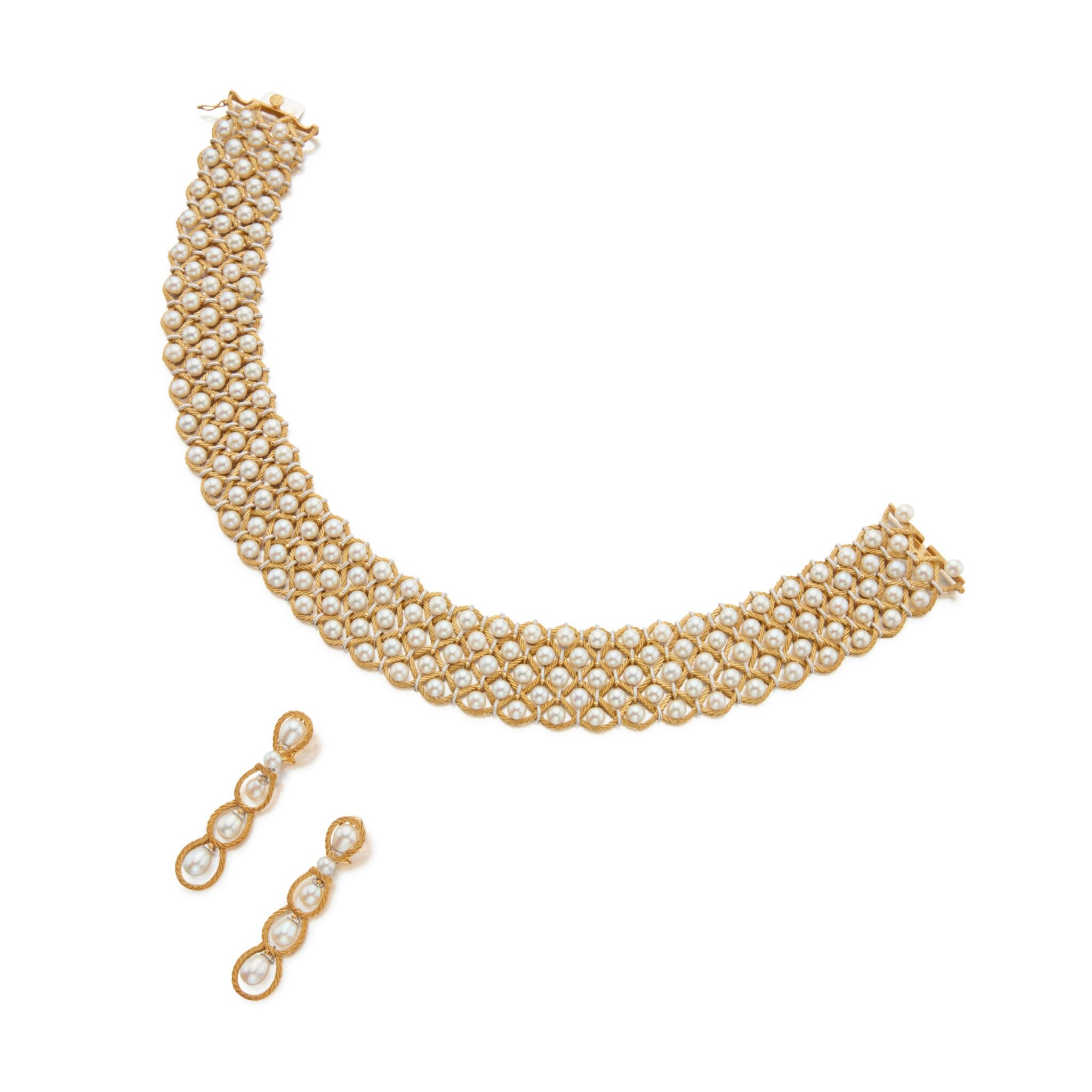 View full screen - View 1 of Lot 29. Gold and Cultured Pearl Choker-Necklace and Pair of Earclips.