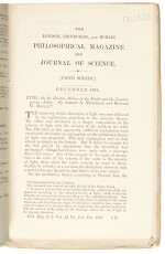 MICHELSON | On the relative motion of the earth..., Philosophical Magazine, December 1887