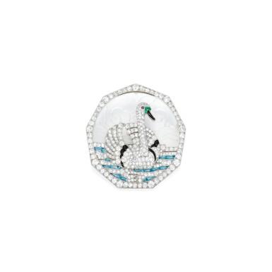 ROCK CRYSTAL, GEM-SET AND DIAMOND PENDANT-BROOCH, MARCUS & CO. | 白水晶配寶石及鑽石別針,Marcus & Co.