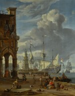 ABRAHAM STORCK | A southern port scene with numerous figures on a quayside