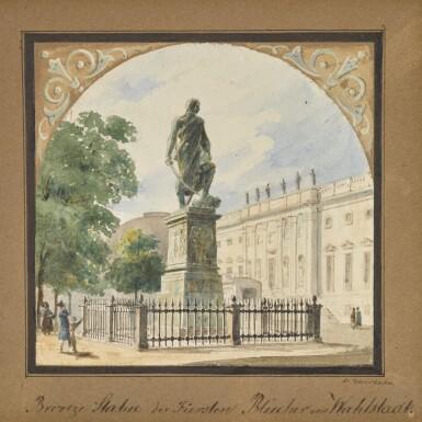 View 1. Thumbnail of Lot 46. Bronzestatue des Fürsten Blücher von Wallstadt (Statue of Prince Blücher).