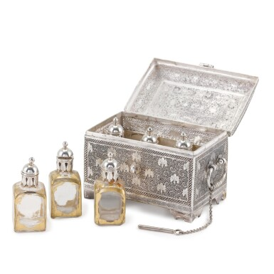 View 4. Thumbnail of Lot 61. A fine Indian silver perfume casket, unmarked, Kashmir, probably 19th century.
