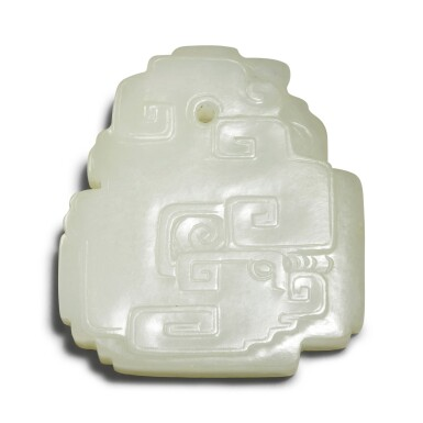 View 1. Thumbnail of Lot 157. A pale celadon jade archaistic pendant, Qing dynasty.