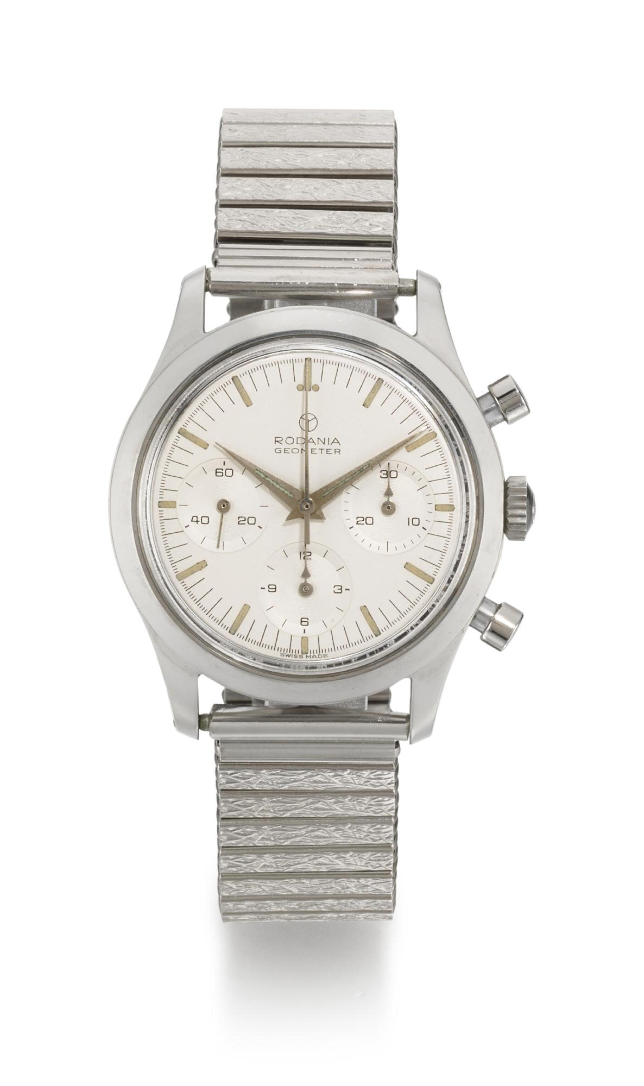 View full screen - View 1 of Lot 34. RODANIA    GEOMETER, REFERENCE 5621 H STAINLESS STEEL CHRONOGRAPH WRISTWATCH WITH BRACELET,  CIRCA 1965 .