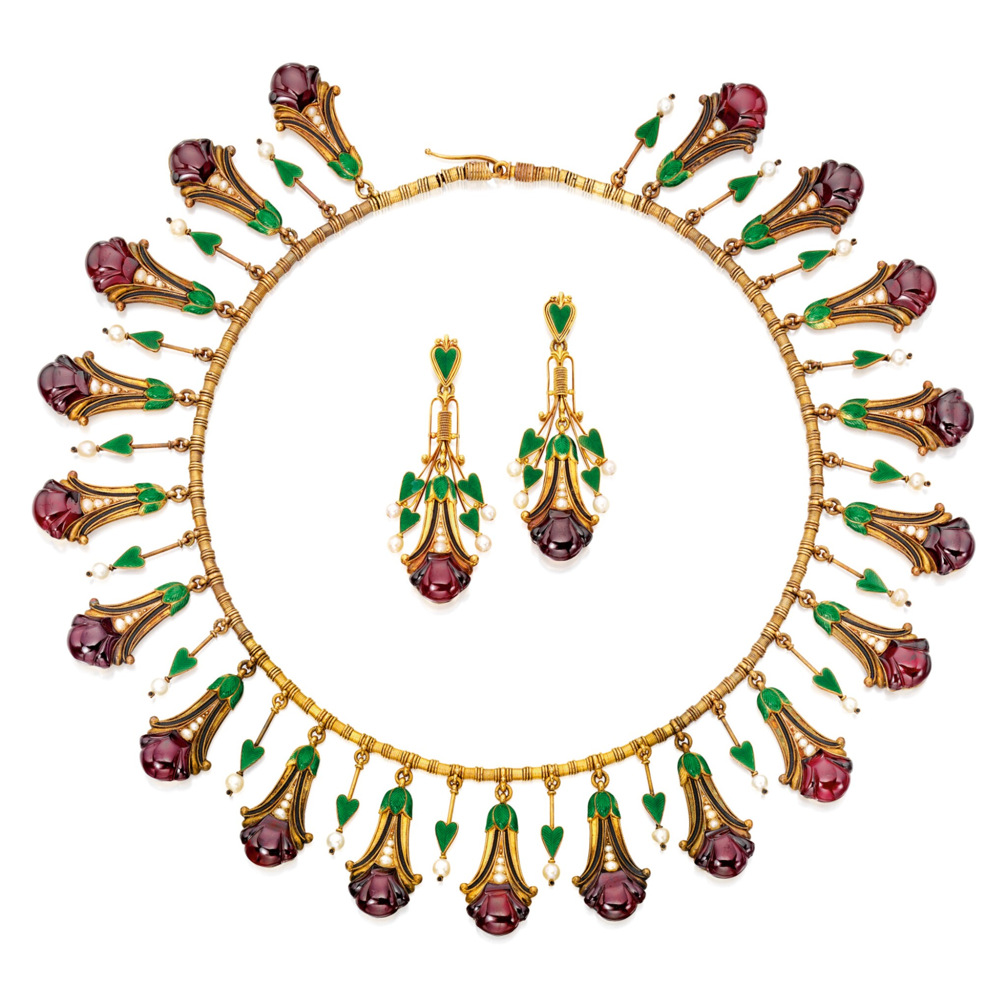 View 1 of Lot 586. GOLD, GARNET, SEED PEARL AND ENAMEL NECKLACE AND PAIR OF PENDANT-EARRINGS, CARLO GIULIANO | 黃金鑲翠榴石配小顆珍珠及琺瑯彩項鏈及吊耳環一對,Carlo Giuliano.