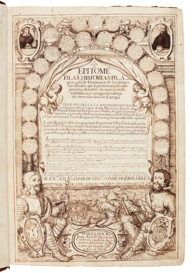 View 1. Thumbnail of Lot 179. Martínez Calderón, Epitome de las historias de la gran casa de Guzman, manuscript dated 1638, 2 volumes.