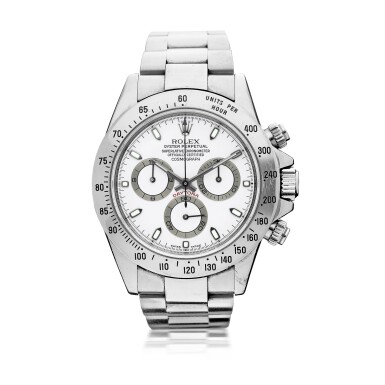 ROLEX   REFERENCE 116520 DAYTONA  A STAINLESS STEEL CHRONOGRAPH WRISTWATCH WITH REGISTERS AND BRACELET, AWARDED TO THE GRANDE AMERICAN SPORTS CAR SERIES GTS CHAMPION CHRIS BINGHAM IN 2002