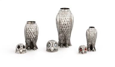 View 4. Thumbnail of Lot 51. A group of three owl-shaped casters by George Unite, Birmingham, 1880 and a group of three large owls, Germany, circa 1900.