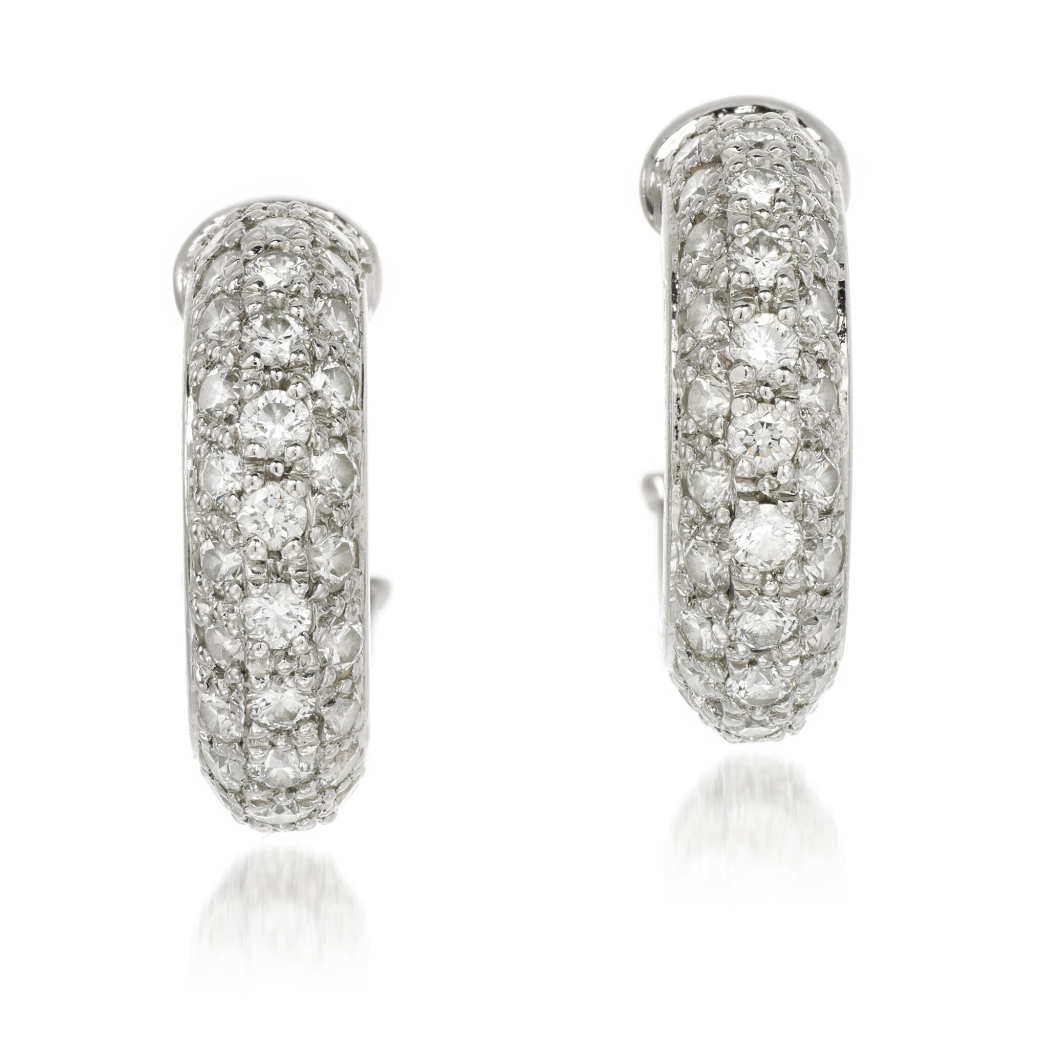 View full screen - View 1 of Lot 53. Cartier | Pair of diamond earrings.