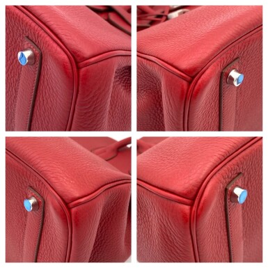 View 10. Thumbnail of Lot 723. HERMÈS   ROUGE GRENATE BIRKIN 35 IN TOURILLON CLEMENCE LEATHER WITH PALLADIUM HARDWARE, 2008.