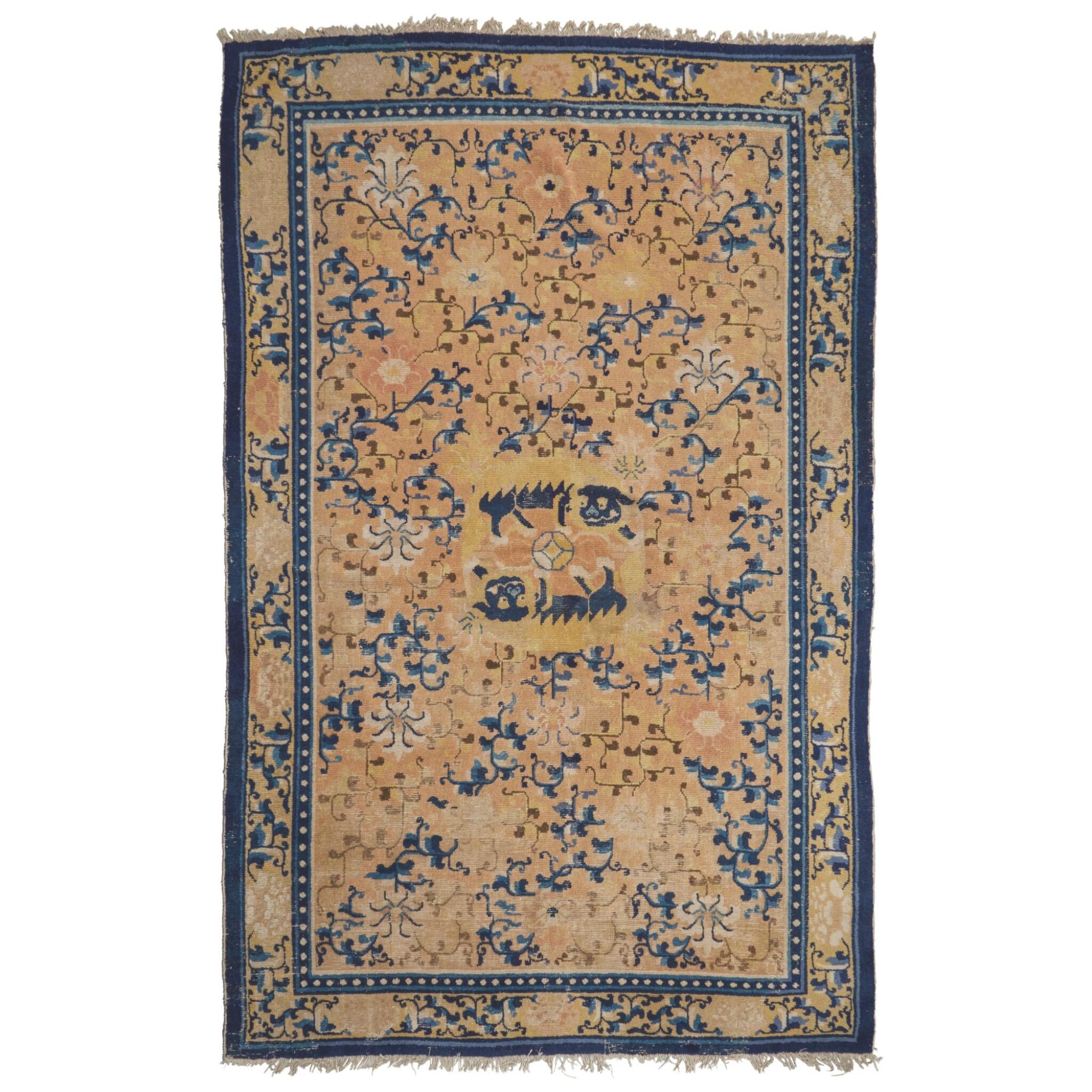 View full screen - View 1 of Lot 119. A Ningxia Carpet, Qing dynasty, 18th / early 19th century | 清十八 / 十九世紀初 寧夏雙獅戲球纏枝花卉紋毯.