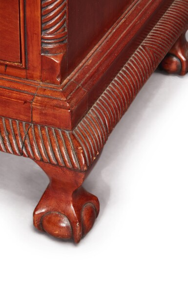 View 4. Thumbnail of Lot 65. Fine and Rare Chippendale Carved Cherrywood Chest-on-Chest, Signed by Bates How (b. 1776), Northwestern Connecticut, circa 1780.